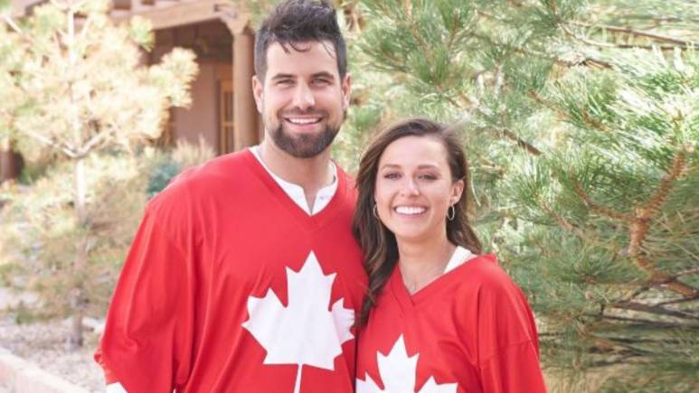 Katie Thurston and Blake Moynes show off their Canadian pride