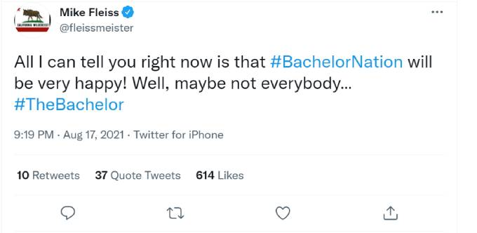 Mike Fleiss' tweet about The Bachelor