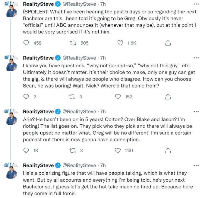 Reality Steve names Greg Grippo as The Bachelor