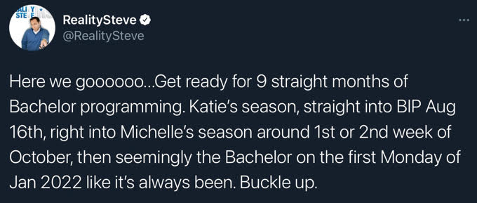 Tweet about all The Bachelor franchise shows in store