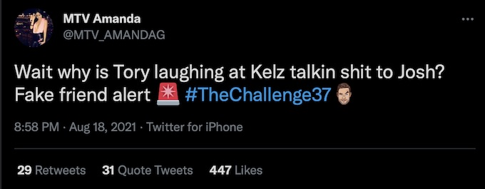 amanda garcia tweets during the challenge season 37 episode 2