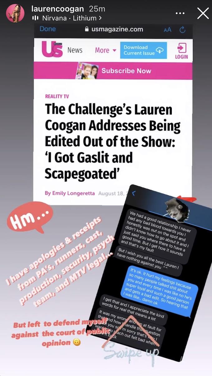 lauren coogan shares text messages on ig story