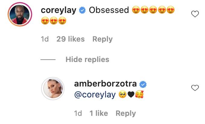 corey lay comments on amber borzotra ig photo