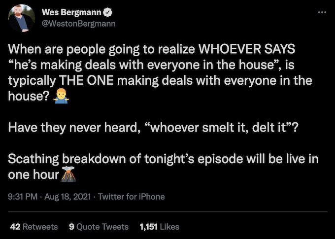 wes bergmann tweets about episode 2 of spies lies and allies