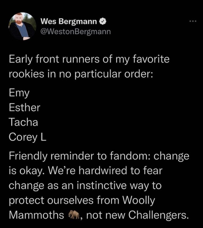 wes bergmann of the challenge reveals favorite rookies