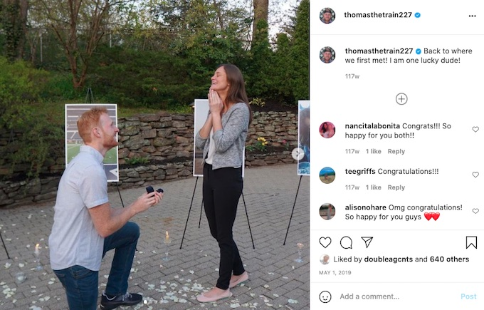 tommy sheehan shares proposal to girlfriend on instagram