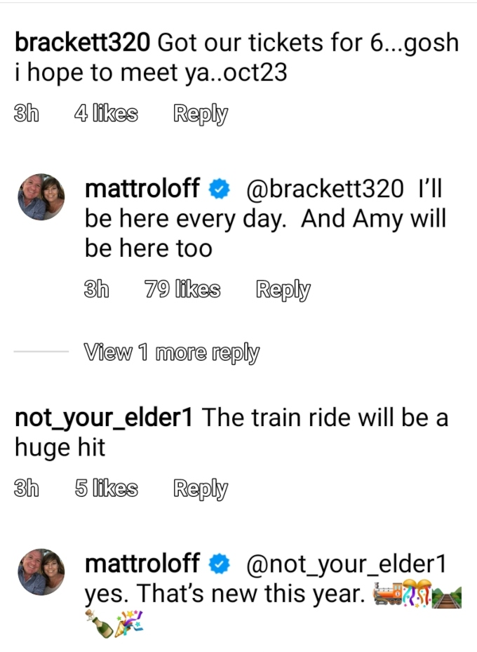 matt roloff confirmed on instagram that amy roloff and the train will be at pumpkin season this year on roloff farms