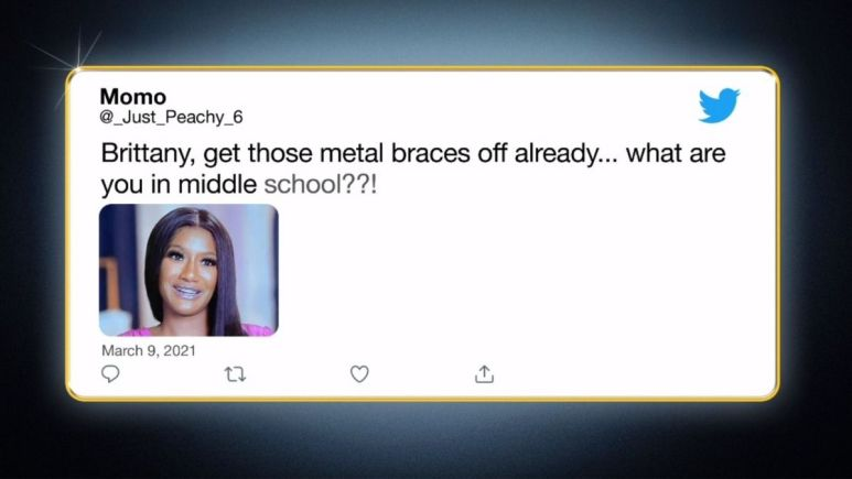 Tweet about Brittany Banks' braces from Bares All