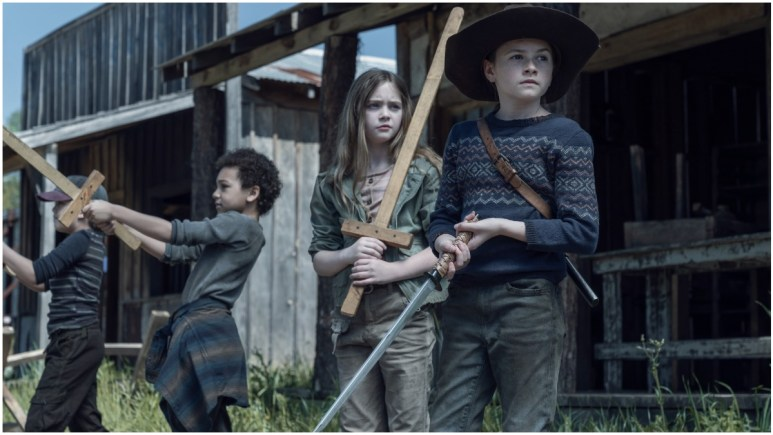 Kien Michael Spiller as Hershel, Antony Azor as RJ, Anabelle Holloway as Gracie, and Cailey Fleming as Judith, as seen in Episode 5 of AMC's The Walking Dead Season 11
