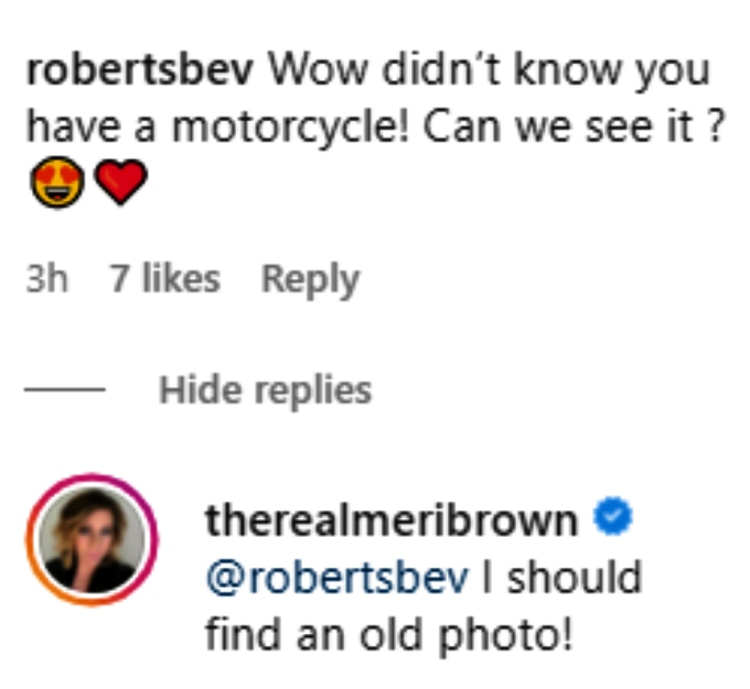 meri brown answered fan questions about her motorcycle on instagram