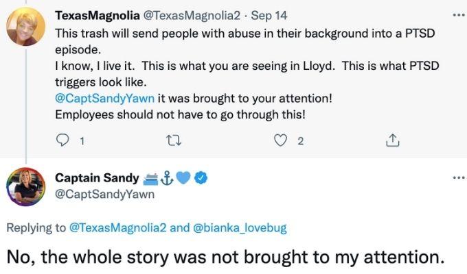 Captain Sandy shuts down trolls.