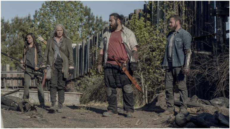 Cassady McClincy as Lydia, Melissa McBride as Carol Peletier, Cooper Andrews as Jerry, and Ross Marquand as Aaron, as seen in Episode 5 of AMC's The Walking Dead Season 11