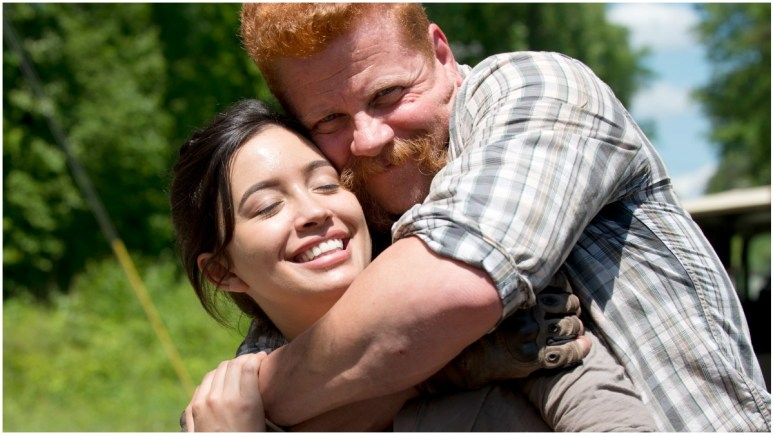 Christian Serratos as Rosita and Michael Cudlitz as Abraham, as sen in a behind-the-scenes shot from Episode 1 of AMC's The Walking Dead Season 6