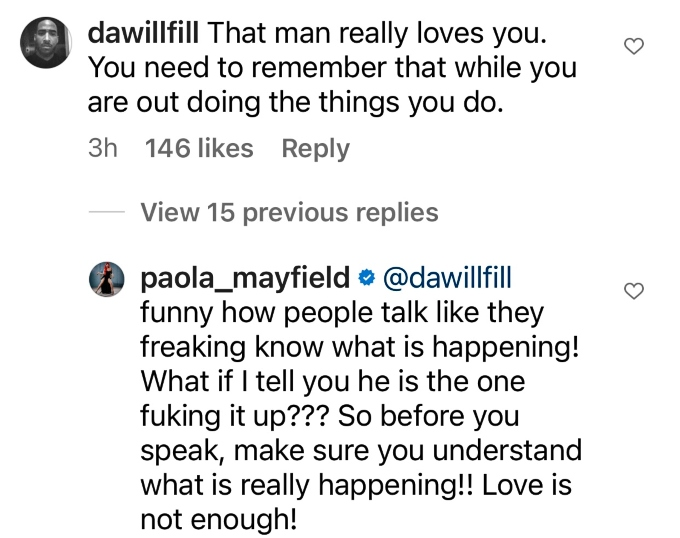 Paola Mayfield claps back at Instagram user