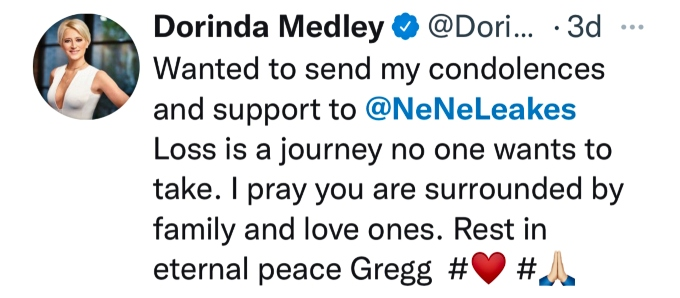 Dorinda Medley sends message to NeNe Leakes after passing of Gregg Leakes