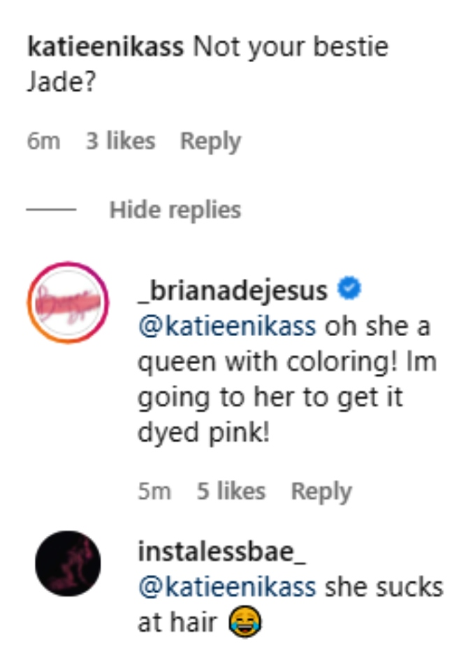 briana dejesus shared a pic of her new extensions on instagram and fans asked why jade cline didn't do them
