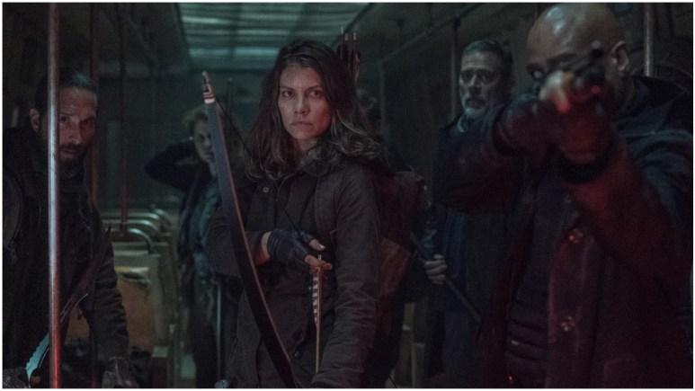 James Devoti as Cole, Lauren Cohan as Maggie Rhee, Jeffrey Dean Morgan as Negan, and Seth Gilliam as Father Gabriel Stokes, as seen in Episode 2 of AMC's The Walking Dead Season 11