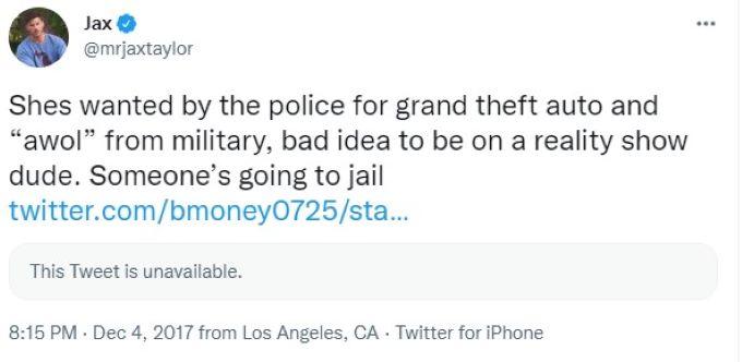 screenshot of Jax's tweet about Faith Stowers.