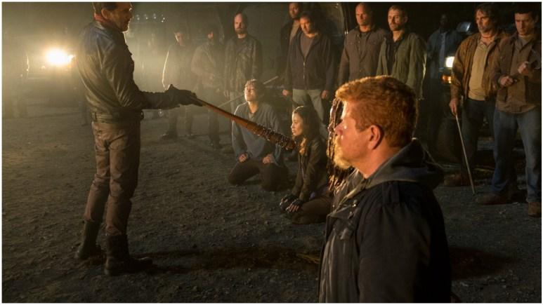 Jeffrey Dean Morgan as Negan and Michael Cudlitz as Abraham, as seen in Episode 1 of AMC's The Walking Dead Season 7