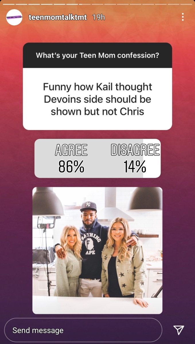 teen mom 2 fans voted on instagram and called out kail lowry for letting devoin austin share his story but not chris lopez