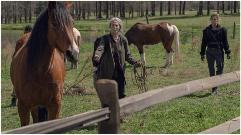 Melissa McBride as Carol Peletier and Nadia Hilker as Magna, as seen in Episode 3 of AMC's The Walking Dead Season 11