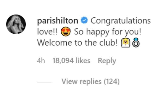 Screenshot of Paris Hilton's comment
