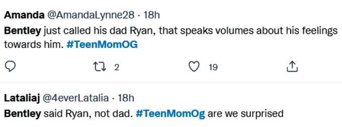 teen mom og fans weren't surprised bentley didn't call ryan his dad on twitter