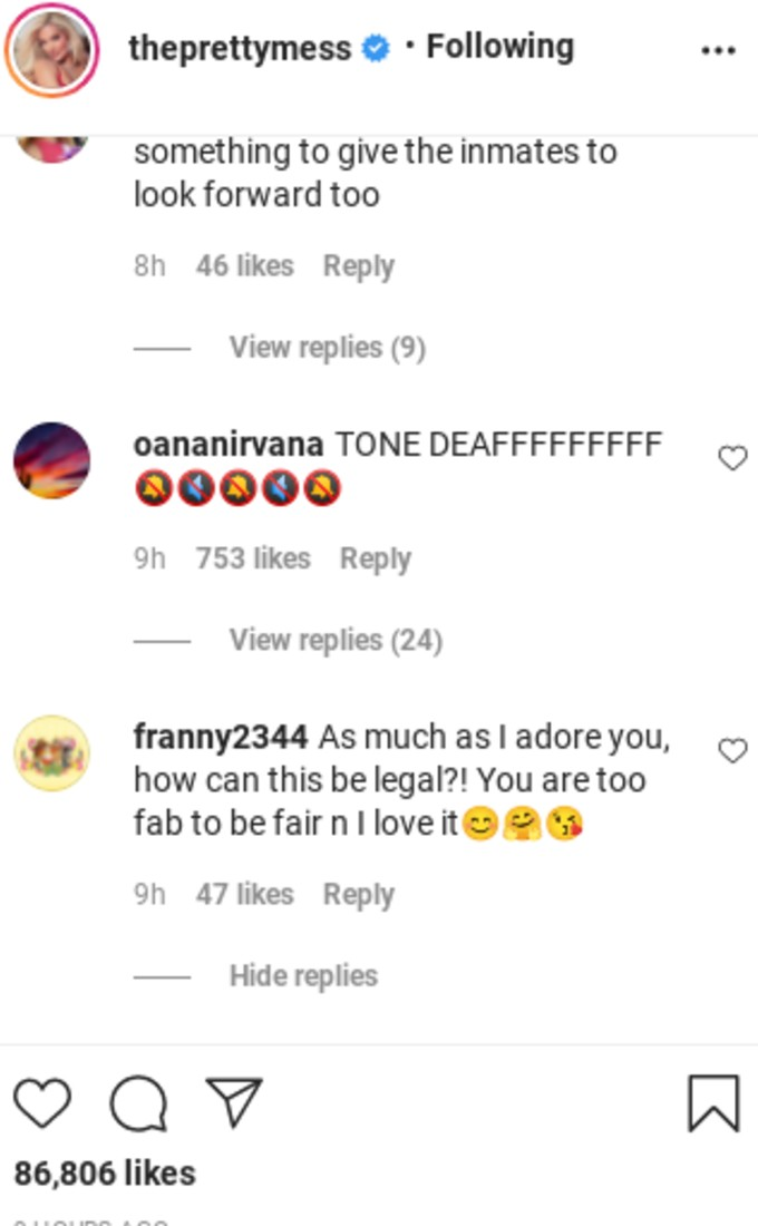 Comment about Erika being tone deaf.