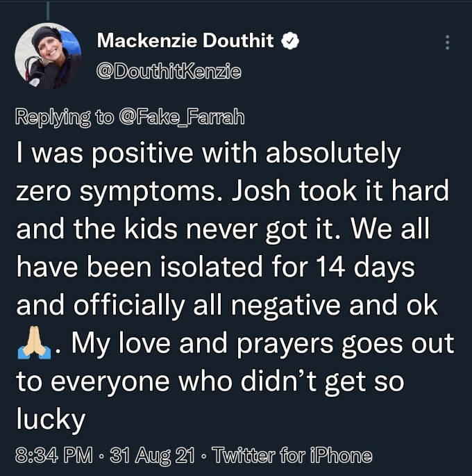 mackenzie mckee asked about food after covid on twitter
