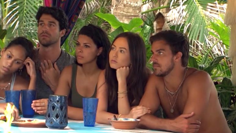 Bachelor in Paradise cast sits at a table