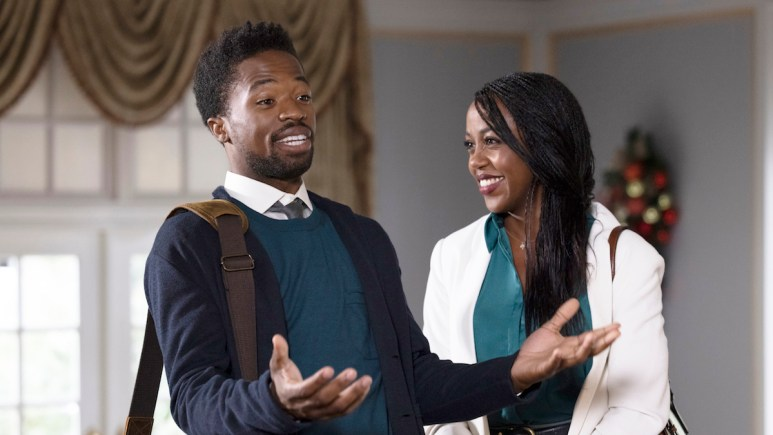 Dewshane Williams and Rukiya Bernard in the GAC Family Film Christmas Time is Here, which will air on Novemver 13 at 8/7c.