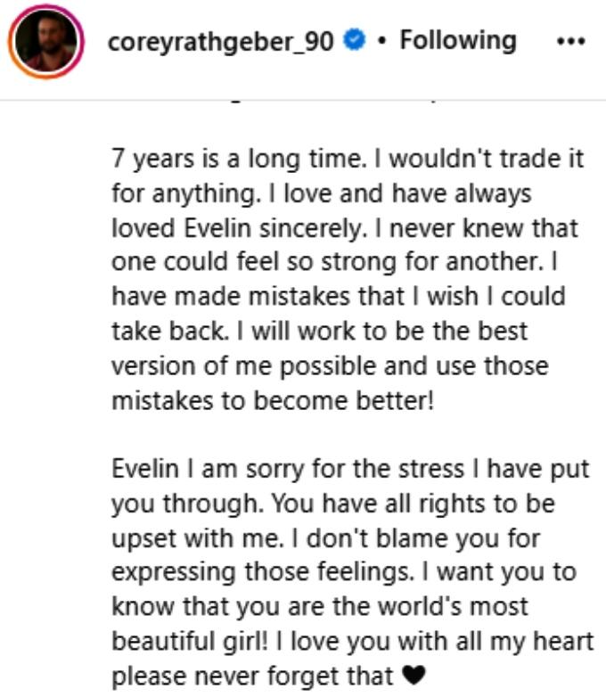 corey rathgeber apologized to evelin villegas on instagram