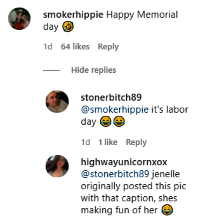 jenelle evans' critics mocked her memorial day hashtag mistake on instagram