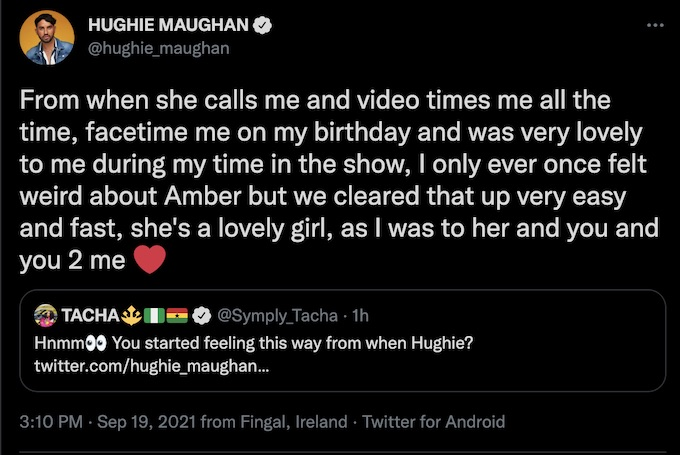 hughie maughan replies to challenge castmate tacha akide about amber borzotra