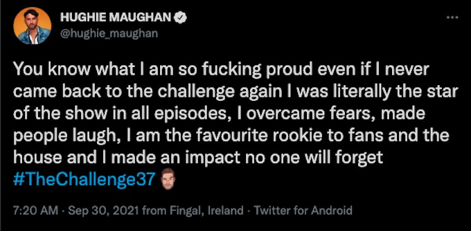 hughie maughan tweets about his challenge 37 experience