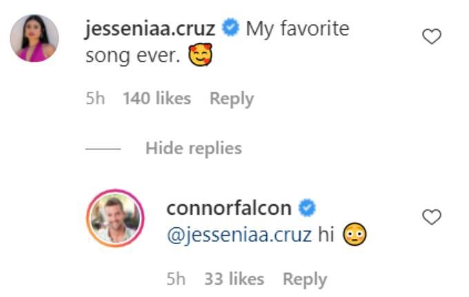 Jessenia Cruz's comment on Connor Brennan's Instagram post