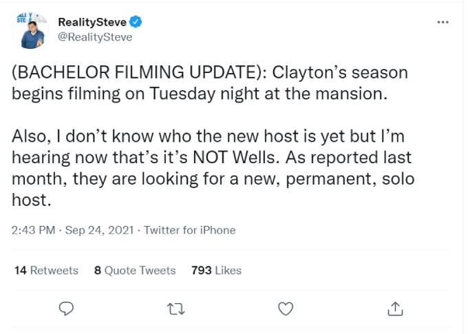 Reality Steve's tweets about The Bachelor