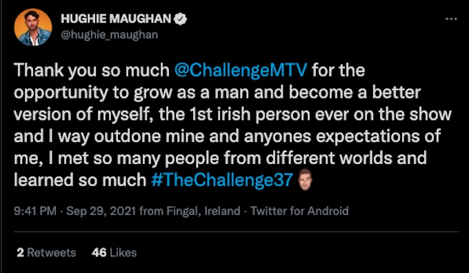 hughie maughan thanks the challenge 37 season