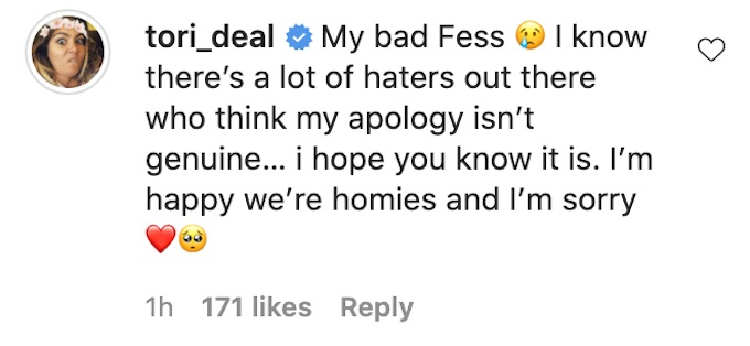 tori deal apologizes to fessy shafaat for the challenge 37 instigating