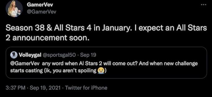 rumors for all stars 3 and challenge season 38