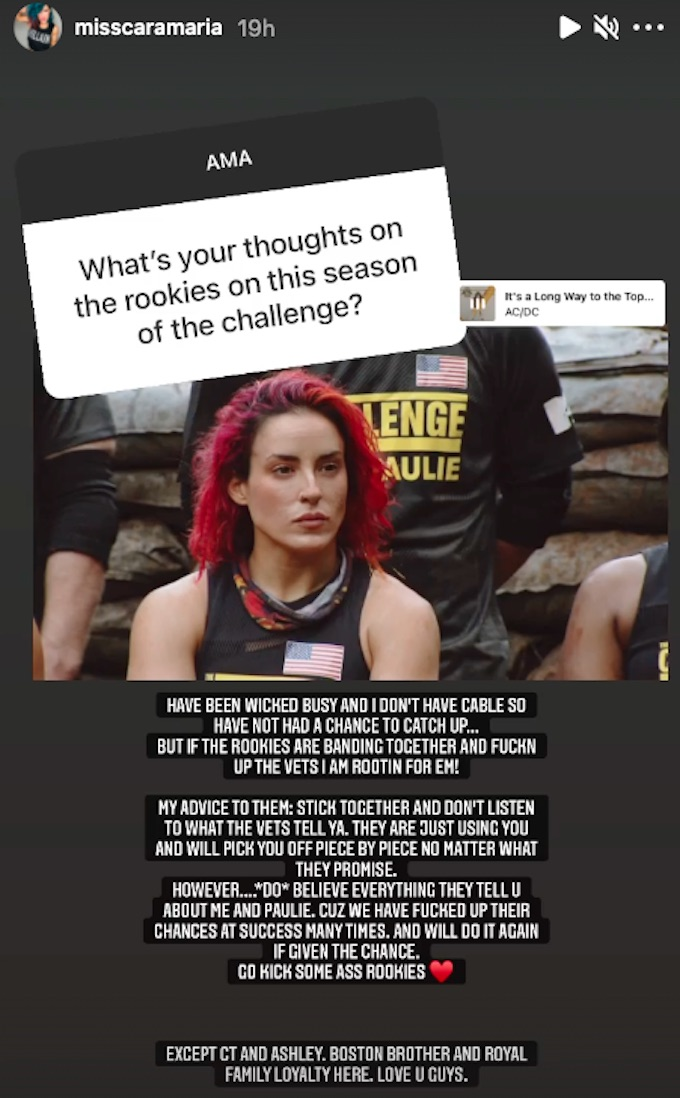 the challenge star cara maria sorbello shares IG post about rookies