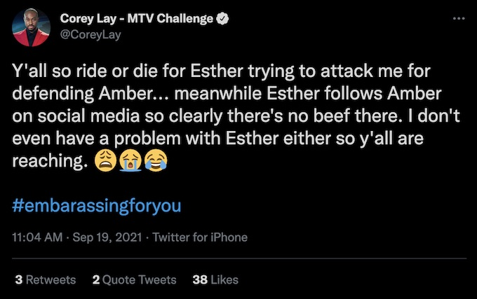 the challenge season 37 corey lay tweets about amber and esther