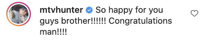 hunter barfield of the challenge comments zach nichols baby on ig