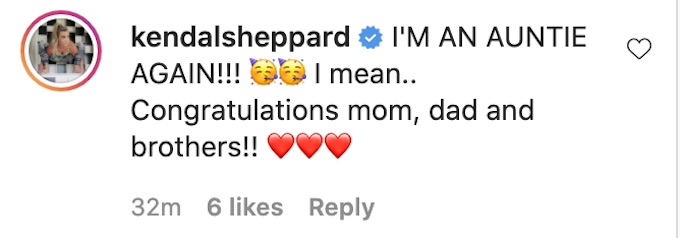 kendal sheppard comments about tori hall baby