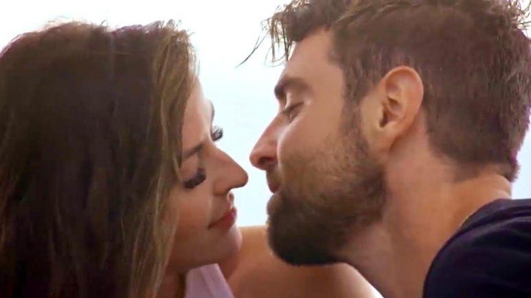 Tia Booth and Blake Monar nearly kiss