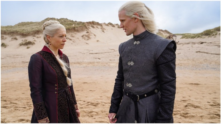 Emma D'Arcy as Princess Rhaenyra Targaryen and Matt Smith as Prince Daemon Targaryen, as seen in Season 1 of HBO's House of the Dragon
