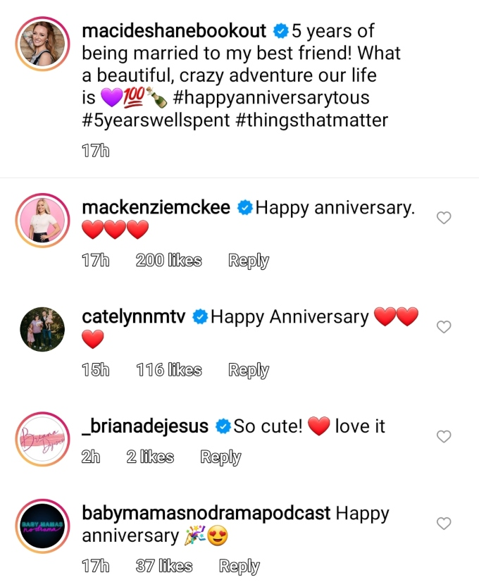 maci bookout celebrated fifth anniversary with taylor Mckinney on instagram