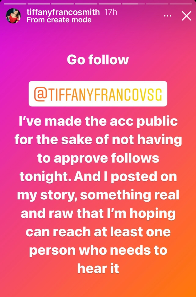Tiffany Franco gets real with her followers on new Instagram account