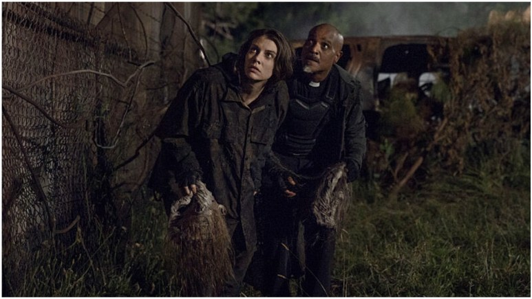 Lauren Cohan as Maggie and Seth Gilliam as Father Gabriel, as seen in Episode 8 of AMC's The Walking Dead Season 11