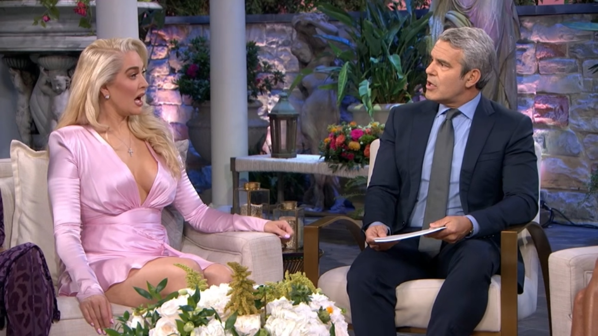 Erika Jayne and Andy Cohen at the Real Housewives of Beverly Hills reunion
